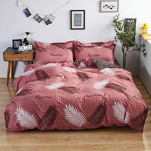 Funda nórdica estampada 4 piezas Pluma de hoja de celosía rosa de raíz de loto microfibra Juego de ropa de cama ,1 funda de edredón con cierre de cremallera 1 hoja + 2 fundas de almohada)150x200cm