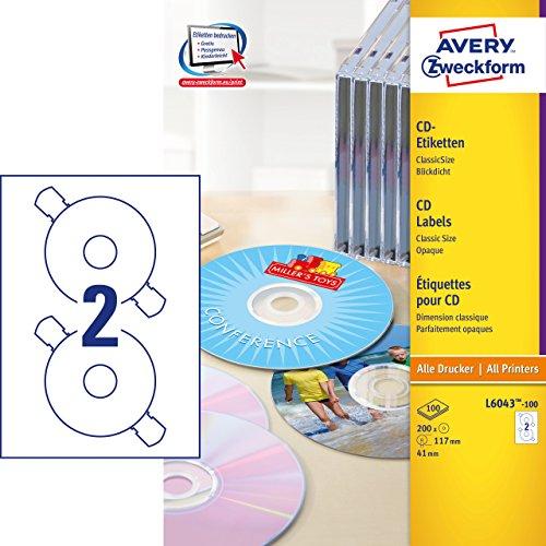 AVERY Zweckform L6043-100 selbstklebende CD-Etiketten (200 blickdichte CD-Aufkleber, Ø 117mm auf A4, ClassicSize, Papier matt, bedruckbare Klebeetiketten für alle A4-Drucker) 100 Blatt, weiß