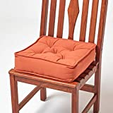 Homescapes gepolstertes Sitzkissen 40 x 40 cm, terrakotta-orange, 10 cm hohes Stuhlkissen mit...
