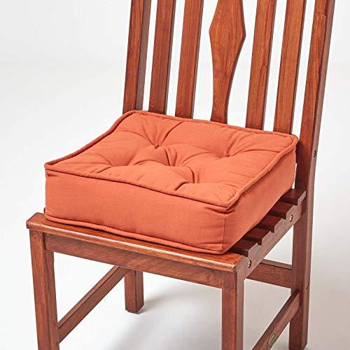 Homescapes gepolstertes Sitzkissen 40 x 40 cm, terrakotta-orange, 10 cm hohes Stuhlkissen mit Bändern, Stuhlpolster/Matratzenkissen für Stühle, Bezug aus 100% Baumwolle