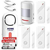 Ker-France - Alarme de Maison - Alarme Porte et Fenêtre - avec 1 Sirène 120 DB - 3 Détecteurs d'Ouverture - 1 Détecteur de Mouvement - 2 Télécommandes - 8 Autocollants - Alarme De Camping Car