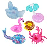 ZONEWAY 6Pack Inflatable Drink Holders,Drink Floats Inflatable Cup Coasters,Swimming Drink Holder ,Whale Flamingo Sun Umbrella Mermaid Crab Donuts for Pool Party (Colorful)