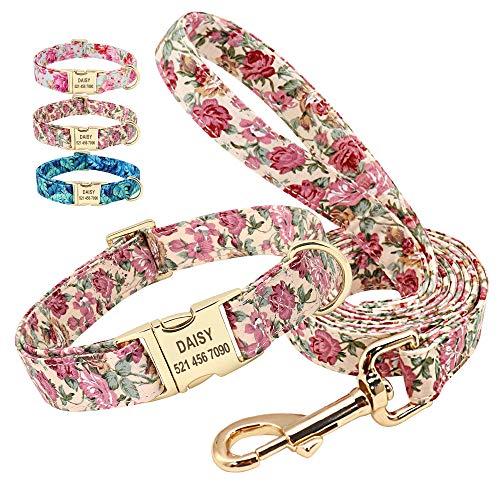 Beirui Set aus Hundehalsband und Leine, personalisierbar, maßgeschneiderte 1,5 m lange Hundeleine und Halsband mit floralem Muster, verstellbares Hundehalsband für kleine, mittelgroße und große Hunde