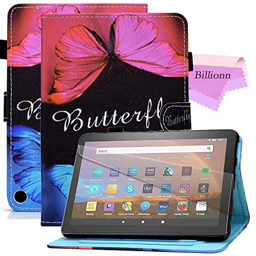 Billionn Hulle fur Amazon Fire HD8 2020 und HD8 Plus 2020 Tablet 10 Generation Version 2020 Smart Stand Hulle Anti Rutsch Streifen Auto SleepWake Schmetterlingsliebe