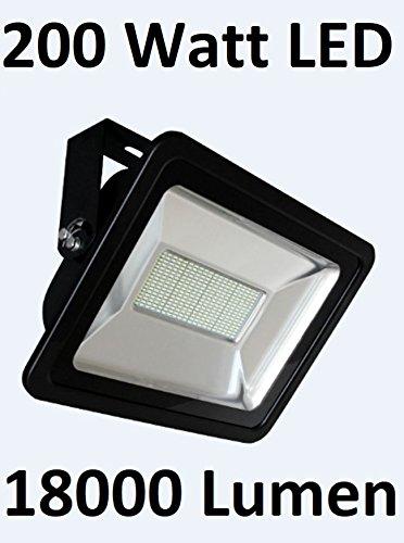 200 Watt LED buitenspot/schijnwerper, lichtkleur koudwit 6000 Kelvin, zoals 1750 Watt halogeenlamp, beschermingsklasse IP65 - stof- en waterdicht/ook geschikt voor aansluiting op bewegingsmelder