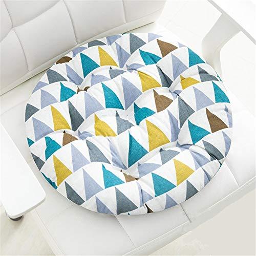 RAILONCH Juego de 2 cojines para silla, redondos, de algodón, cojín para silla, cojín para interior y exterior (triángulo de colores, 35 x 35 cm)