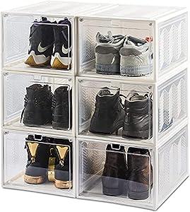 JSY Caja de Almacenamiento de Zapatos Frontales de Gota magnética, Organizador de Zapatos Plegable Plegable 6 Paquete apilable (Grande) Zapateros y hormas para Zapatos (Color : White)
