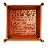 Kate Posh - 3 Years of Marriage Engraved Leather Catchall Valet Tray, Our 3rd Wedding Anniversary, 3 Years as Husband & Wife, Gifts for Her, for Him, for Couples (Rawhide)