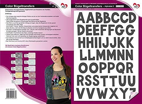 Color Bügeltransfers, DIN A4, ABC, Alphabet | Buchstaben auf Transfer-Folien für Textilien wie T-Shirts & Taschen | Transfer-Bilder schnell & einfach aufbügeln | DIY Textildesign (anthrazit)