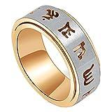 PAURO Uomo Acciaio Inossidabile Oro Buddista Mantra Tibetano Spinner Anello Band 8Mm Ampia Taglia 17