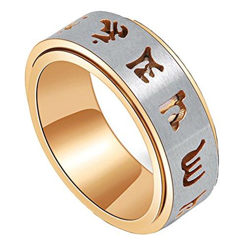 PAURO Herren Edelstahl Gold Buddhistisches Tibetisches Mantra Spinner Ring Band 8MM Wide Größe 65