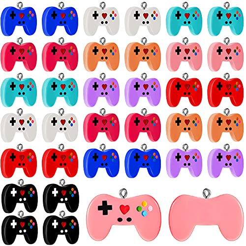 36 Pieces 9 Colors Video Game Charms Game Controller Key Ring Pendant Charms Mini Game Charms Video...