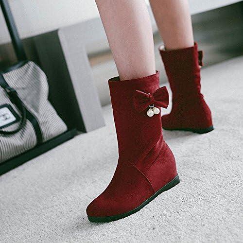 Khskx de las botas en tubo Inclinación Aumenta con ante Matte Mode Guantes rojo Vino los zapatos