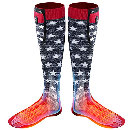 7.4V/2200mAh Upgraded Electric Heated Socks,Rechargeable Battery Powered 3 Heating Control Thermal Foot Warmer For Unisex,Winter Warm Novelty Heat Insulated Sox Kit For Skiing Hunting RidingMotorcycle