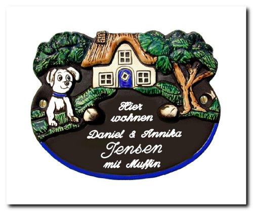 Keramik Türschild 20x16 cm Keramikschild mit Hund-Motiv, inklusive Wunschgravur, auch als Klingelschild lieferbar
