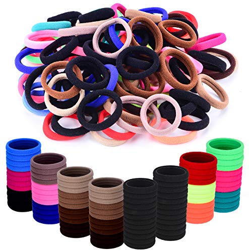 Seamless Cotton Hair Ties for Women and Girls, Elastic Hair Bands for Adult, No Crease Damage Ponytail Holders, in 15 Colors No Hurt Hair Thick Hair Bands 96pcs In 8mm Thickness