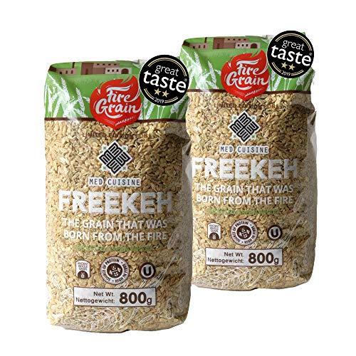 Vollkorn Grün-Weizen Freekeh 800g - nahrhaftes Superfood - das gesündeste Korn der Welt, frisch aus Galiläa - Genießen Sie köstliches veganes Freekeh zu jeder Mahlzeit. (2 PACKUNG)