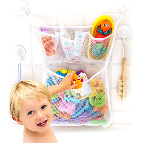 Tub Cubby Bath Toy Organizer + Baby Rubber Ducky - 14'x20 Mold Resistant Mesh Net Basket - 3 Soap Shampoo Dividers - Keeps Kids Bathtub Games Dry - Suction & Sticker Hooks Shower Caddy Storage Bin Set
