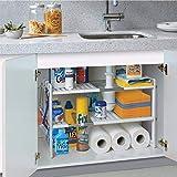 2 Niveles Estantería de Almacenaje Debajo Fregadero, Estantería de Cocina de Acero Inoxidable, Extensible Multifunción Ajustable, para Cocina y Mueble de Baño, Blanco, (50-70) x26.5x39cm