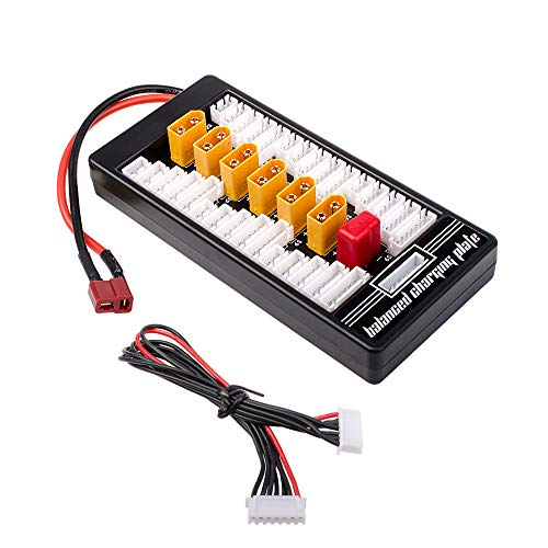 FCONEGY Parallel Charging Board Balance Batterieladekarte 2S-6S Ladeschale für Lipo-Akkus 6 XT60 und 1 Deans / T