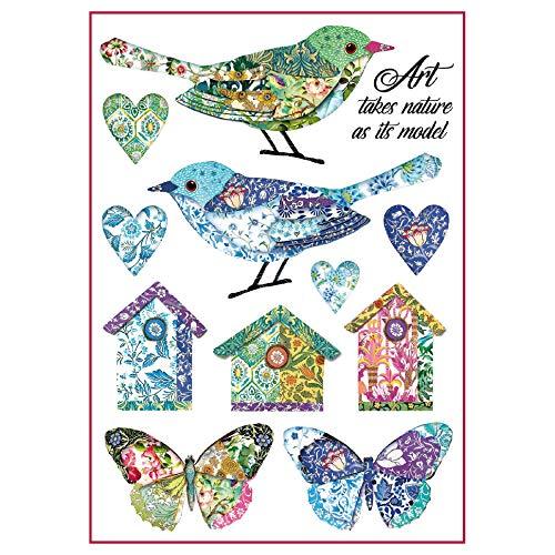 Stamperia Papel De Arroz Pájaros Y Fantasía, Multicolor, 21 X 29.7 Cm