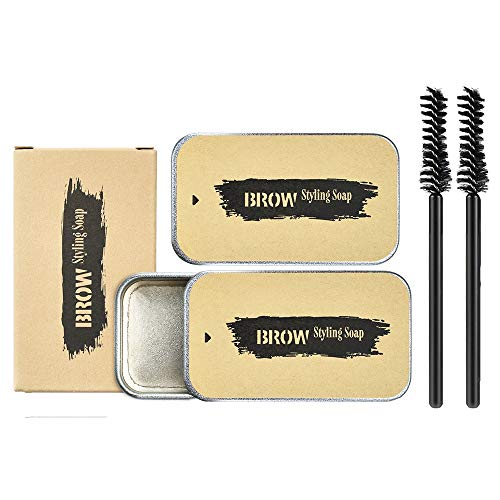 Ownest 2PCS Eyebrow Soap Kit,Brows Styling Soap,Long Lasting Waterproof Smudge Proof Eyebrow Styling Pomade for Natural Brows, 3D Feathery Brows Makeup Balm
