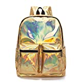Women Silver Hologram Bag Leather Holographic School Bag Gold