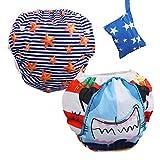 Lictin 2 Pcs Pañales Reutilizables de Natación, Pañales de Natación Ajustables Para Bebés de 0 a 3 Años, ninas (Azul)