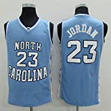 Anoauit NBA Jersey Bulls # 23 Brodé Jordan University of North Carolina Basketball Jersey Unisexe Tops sans Manches Sports de Plein Air Compétition Costumes Basketball Gilet-Bleu_M