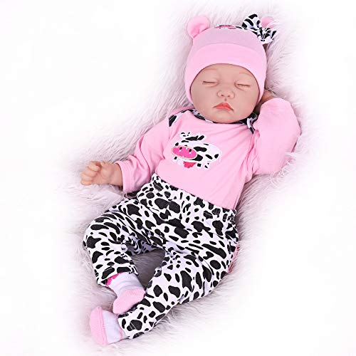 Realistic Reborn Baby Dolls Girl, 22 Inch Soft Vinyl Weighted Body Reborn Babies, Lifelike Sleeping Real Baby Dolls Toy Gifts for Age 3+