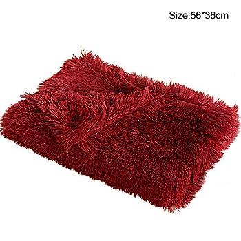 BVAGSS Couverture Douce Chien Tapis Lavable Polaire pour Chien Chat XH025 (S:56x36cm, Wine Red)