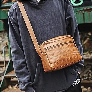Fashion Single-Shoulder Bags PU Leather Men Travel Shoulder Crossbody Handbag Bags (Black) (Color : Brass)