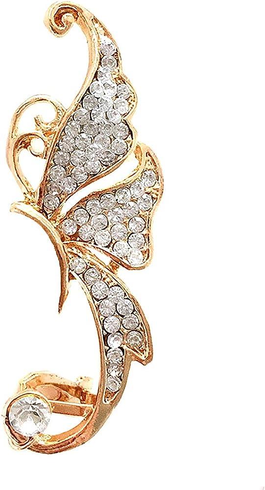 Butterfly Climbers Crawler Non-Piercing Earrings Cute Crystals Left Ear Cuff Wrap Clip Golden Jewelry Jacket Earring Climber Ear Clip for Women Girls 1 PC