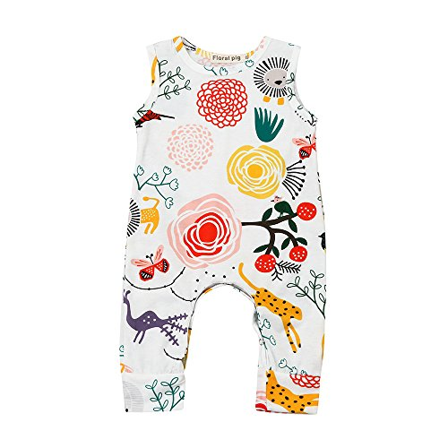 Sunenjoy Bébé Garçons Filles Barboteuse sans Manches Jumpsuit Combinaisons Bouton Bodys Coton Haut Blanc Mignon Mode Tenues D'été Vêtements Casual 0-3 Ans (12-18 Mois, Multicolore)