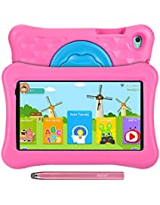 $81 » 8 inch Kids Tablet Anti-Blue Light Android 11 Go 2+32GB KIDOZ Pre-Installed 2.4G WiFi 1280x800 Eye Protection HD Display AWOW Adjustable Kid-Proof Case Active Pen(Pink)