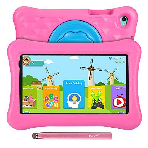 Tablet para niños de 8 Pulgadas AWOW Tablet Infantil, Android 11 Go Quad Core, 2GB RAM 32GB ROM, iWawa Preinstalado, con Kid-Proof Funda y Lápiz Táctil, Control Parental, Doble Cámara, Rosa