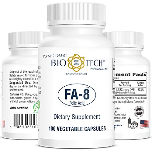 Folic Acid 800 mcg, BioTech FA-8, 100 Capsules, Tiny Soft Hypo-allergenic And Easy To Swallow