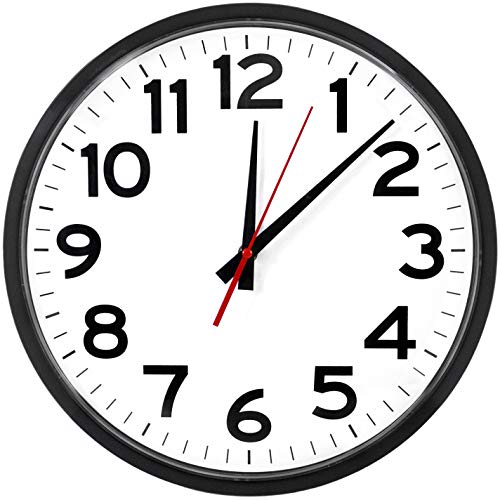 """The Ultimate Wall Clock - 14"""" Atomic, Black, Easy to Read, Perfect for Home, Office, School, Indoor / Outdoor"""