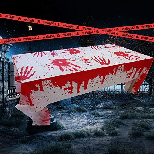 Weekend&Lifecan Halloween Mantel, Mantel Sangriento, Halloween Mantel Sangriento, Terror decoración para Halloween para Suministros de Fiesta Accesorios de casa embrujada (tablecloth-2pack-orange)