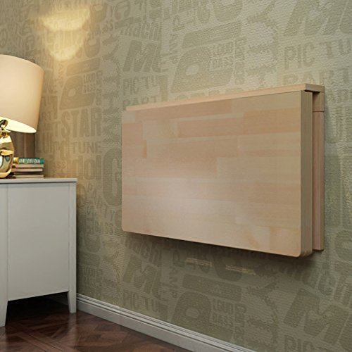 CHGDFQ Mesa plegable de pared de madera maciza, mesa de comedor, escritorio, mesa de trabajo, mesa de aprendizaje, plegable, color madera (tamaño: 80 x 50 cm)