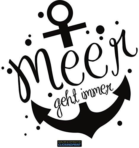 CLICKANDPRINT Aufkleber » Ankermotiv: Meer geht Immer, 20x19,6cm, Schwarz • Dekoaufkleber/Autoaufkleber/Sticker/Decal/Vinyl