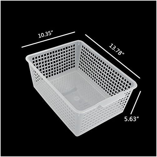 Qsbon Large Plastic Storage Organization Bins Basket, Set of 3, Clear 4