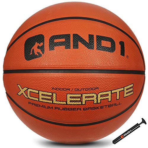 """AND1 Xcelerate Rubber Basketball Deflated w/Pump Included: Official Regulation Size 7 295"""" Streetball Made for Indoor/Outdoor Basketball Games Orange Classic"""