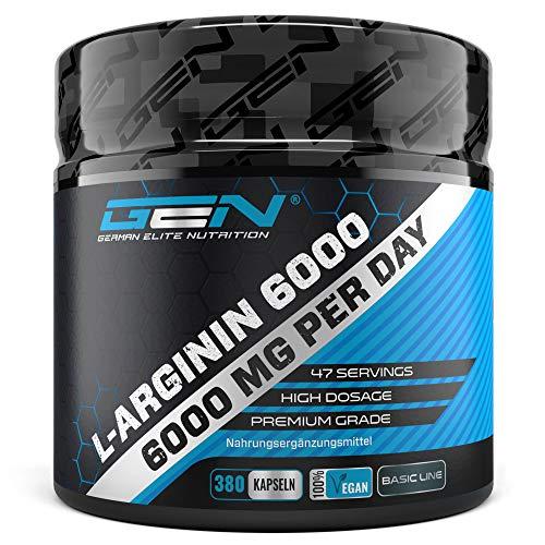 L-Arginin - 380 vegane Kapseln - 6000 mg pflanzliches L-Arginin HCL pro Tagesportion (= 4980 mg reines L-Arginin) - Aminosäure - Hochdosiert - Laborgeprüft - Premium Qualität