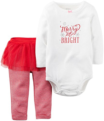 Carter's Baby Girls' 2 Pc Sets 119g105, White Christmas, 3M