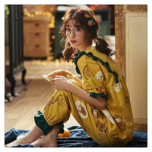 Conjunto de pijama de algodón para mujer, de manga corta para mujer, de estilo princesa, de manga corta, pantalones largos, pijamas simples para el hogar (color: C A 2903, tamaño: M)