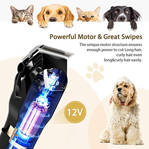 OMORC Dog Grooming Kit, Professional High Power Dog Clippers for Thick Heavy...