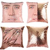 "【Package &Size & Material】Pillow COVER ONLY,pillow inserts are NOT included! Size: Approx.16""*16"" (40CM x 40CM) . Material: reversible sequins (front) and soft suede fabric (back) 【Glitter pillow with funny face】 Our throw pillows covers come in 2 co..."