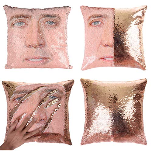 Merrycolor Random Gifts Mermaid Pillow Cover Sequin Pillow Case Magic Reversible Sequin Pillow Cover Decorative Throw Cushion Case (Champaign Gold)