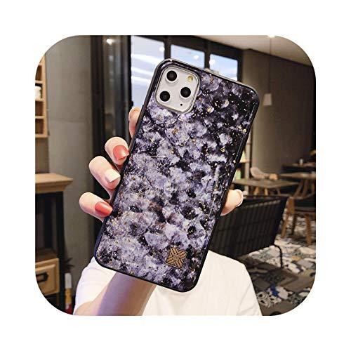 Lujo brillo oro hoja mármol granito piedra textura teléfono caso para iPhone 11 Pro Xs Max X XR 6 6s 7 8 Plus suave cubierta trasera escala de peces D40-para i6 Plus i6s Plus